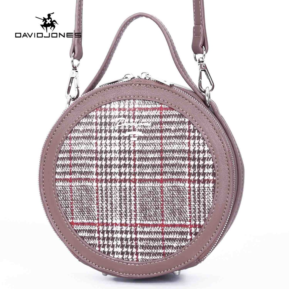 DAVIDJONES women handbag pu leather female shoulder bags mini lady patchwork circular bag girl brand round bag drop shipping handbag