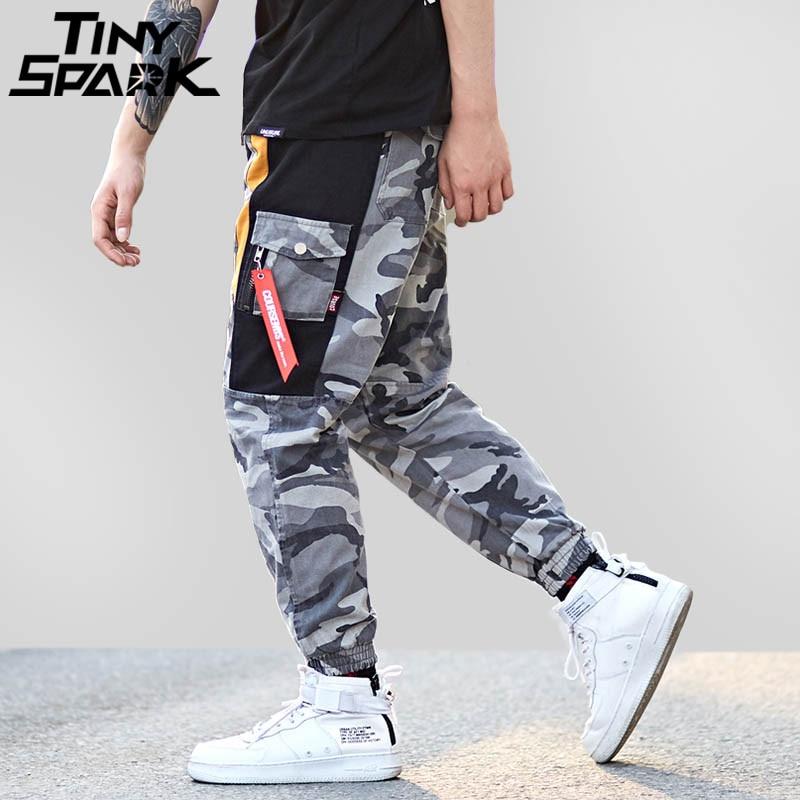 Harajuku Хип Хоп брюки для мужчин мешковатый гарем лоскутное серый камуфляж мотобрюки Swag карман повседневное Tatical штаны-карго уличная