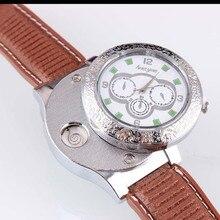 แฟชั่นชาร์จUSBนาฬิกาผู้ชายบุคลิกภาพความคิดสร้างสรรค์USB windproofเบาบุหรี่อิเล็กทรอนิกส์หนังPUบุรุษรอบนาฬิกาข้อมือ