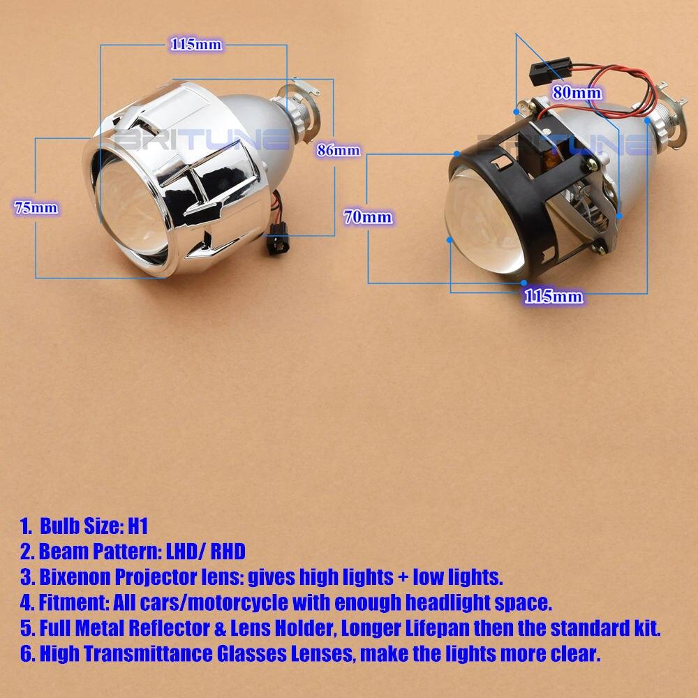 2.5 pouces mise à niveau Leader complet en métal HID phare bi-xénon projecteur lentille phare complet kit H4 H7 4300K 6000K 8000K voiture phare - 3