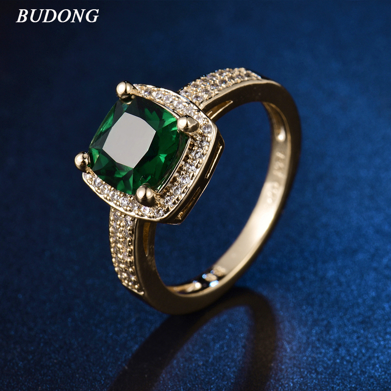 2017 BUDONG Chic Bling Ladies Finger Band Gold Color Ring for Women Princess Green font b