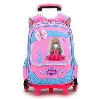 Waterproof Wheeles Bags School Boys girls Removable Trolley Backpack School Children school backpack Book Bag Travel Luggage Bag