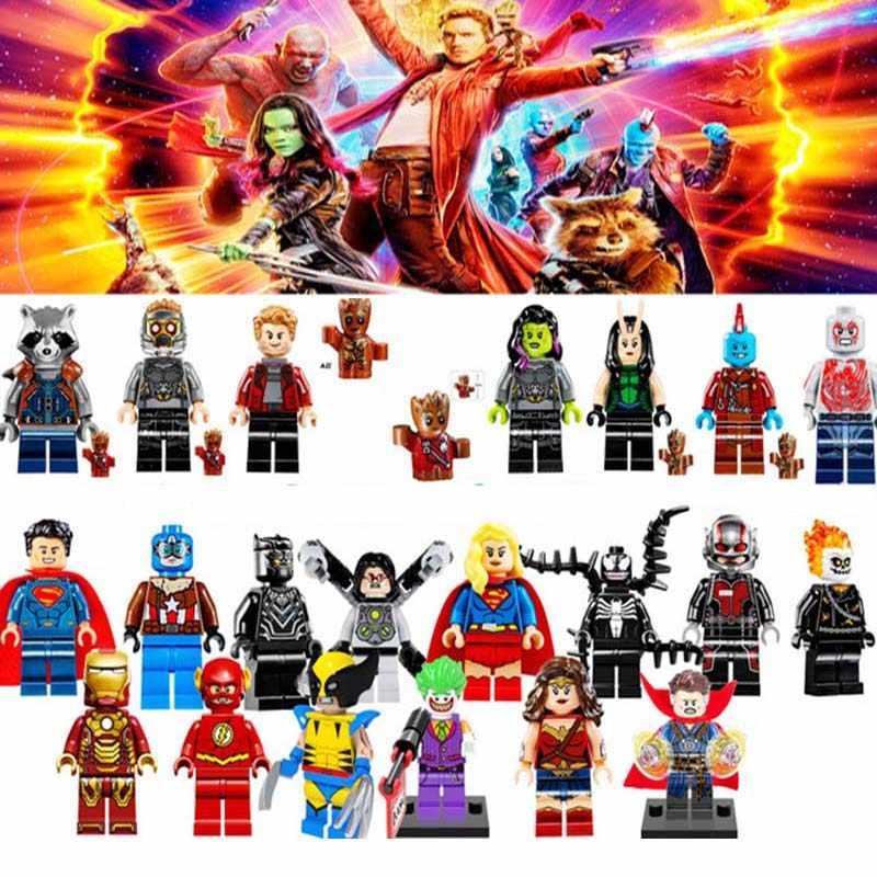 Super Heroes lEGOED Avengers Infinity War Iron Man Thanos Thor Black Panther Falcon Gamora Hulk Building Blocks toy WY30