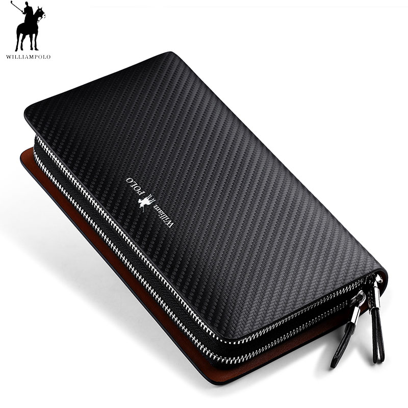 WILLIAMPOLO Business Men Clutch Bags Brand Genuine Leather Blue Fashion Zipper Long Wallet Phone Credit Card Holders Handbag