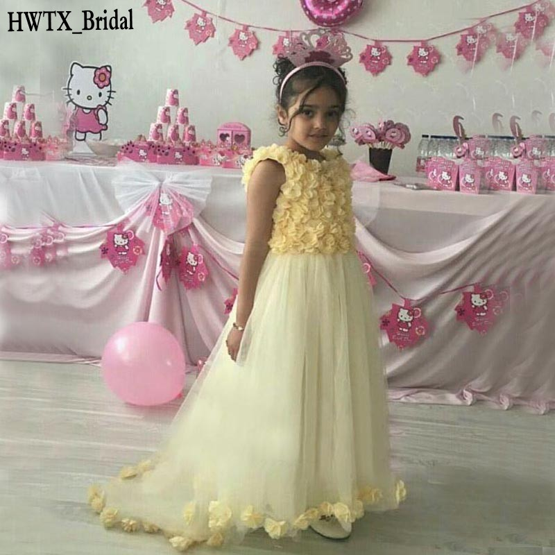 Yellow Princess Flower Girl Dresses For Weddings Handmade 3D-Floral ...
