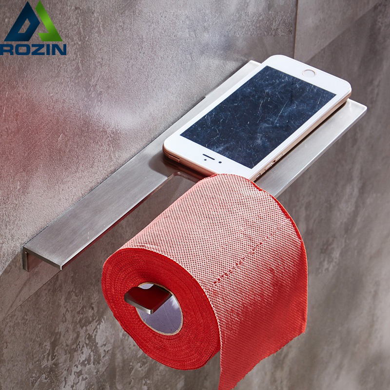 304 Stainless Steel Toilet Paper Holder Mobile Phone Rack Creative Wall Mounted Roll Paper Tissue Rack Free Shipping stainless steel wall mounted waterproof toilet roll paper holder of high capacity for toilet hotel and bathroom