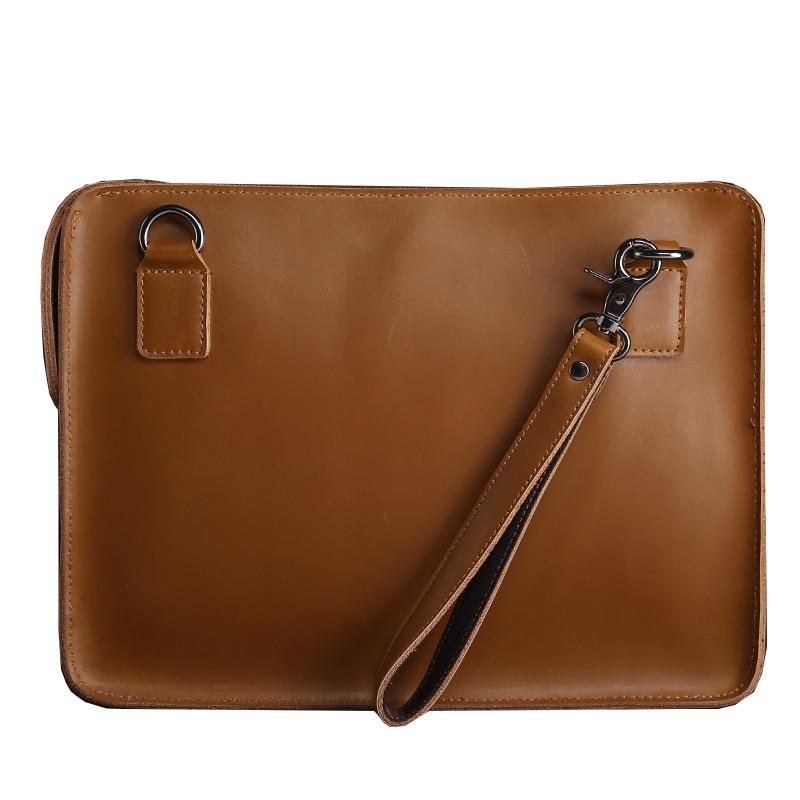 Genuine Leather Bag Laptop Sleeve Portfolio Handbag For Macbook 12 13 Air / Pro Retina 13.3 Notebook Case Shoulder Bag