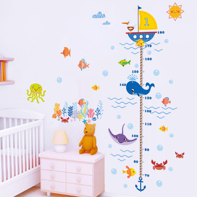 Underwater ocean fish finding nemo carton anchor height measure growth chart wall sticker kids baby nursery