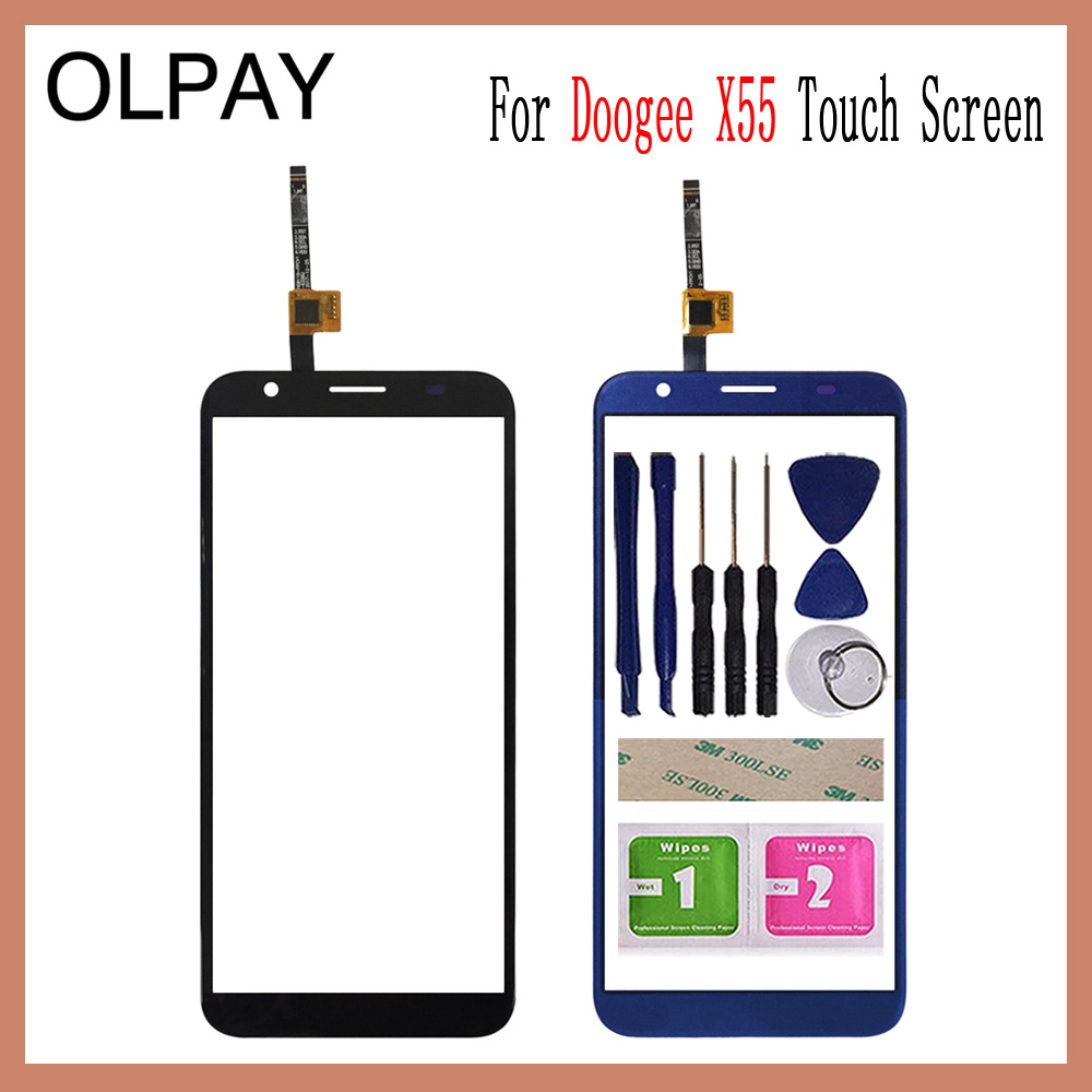 OLPAY 5.5 For Doogee X55 Touch Screen Digitizer Panel Repair Parts Touch Screen Front Glass Lens Sensor Free Adhesive+WipesOLPAY 5.5 For Doogee X55 Touch Screen Digitizer Panel Repair Parts Touch Screen Front Glass Lens Sensor Free Adhesive+Wipes
