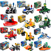 [Promotion] City Series Police Car Fighter mini Educational Building Blocks Toys Compatible With legoingly City(China)