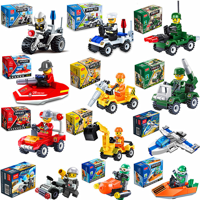 [Promotion] City Series Police Car Fighter mini Educational Building Blocks Toys Compatible With legoingly City