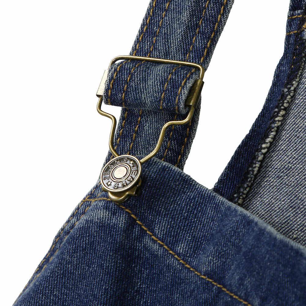 Модный женский джинсовый комбинезон Дамский весенний модный Свободный джинсовый комбинезон женский Повседневный плюс размер комбинезон легкий костюм с карманом # O