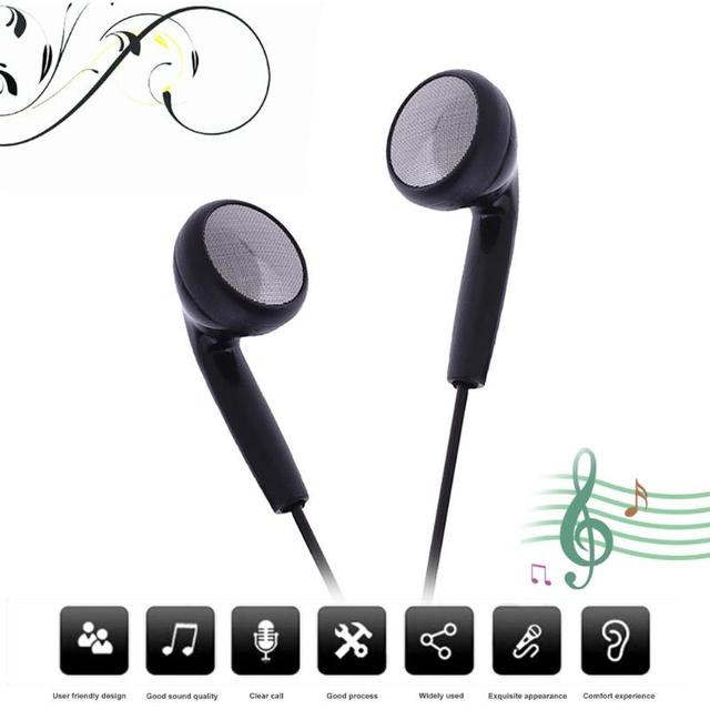 Black Universal Music Earphone 3.5mm Wired Stereo Headphones  Earpiece With Mic For Phones MP3 players Computer
