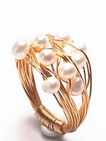 Koraba 14k Yellow Gold Baroque Natural Pearl Handmade Women Ring