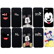 Cute Drawing Mr Mickes Mrs Minnie Soft Case For iphone 6 6s Plus 5s SE Funda Cartoon Cover For iphone 7 8 Plus X XS Max XR Coque(China)