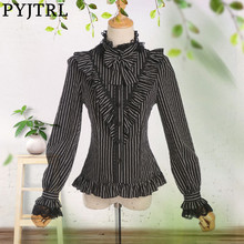 PYJTRL 2018 Spring Autumn Vintage LOLITA Black White Strip Slim Fit Long Sleeve Blouse Women Lace Ruffles Tops Womens Clothing