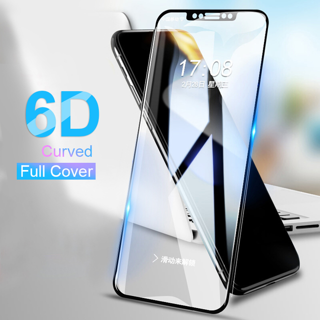 official photos 40ba7 26a81 US $1.89 5% OFF|RZP 6D Curved edge Tempered Glass For iPhone X Screen  Protector On The For Apple iPhone 5 5s SE 6 6s 7 8 Plus 10 X Glass Film  3D-in ...