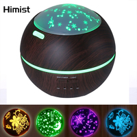 HIMIST 150ml Essential Oil Diffuser Wood Grain Color LED Projector Ultrasonic Aromatherapy Humidifier Home Aroma Air