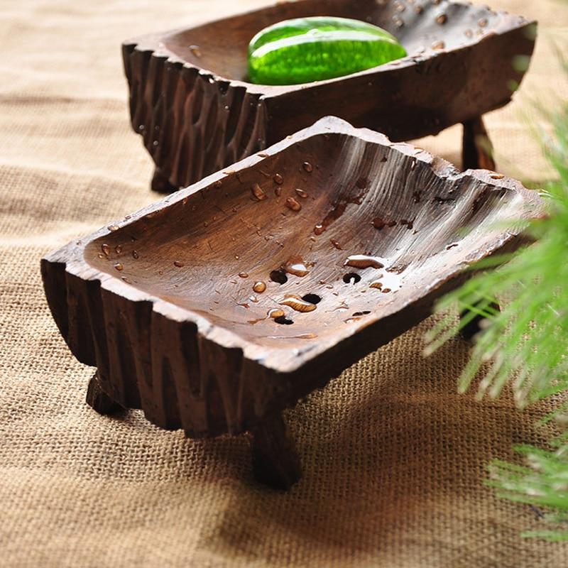 Creative Handmade Natural Wooden Soap Dish Tray Holder Storage Rack Wood Soap Box For Bath Shower Bathroom Home Hotel JJ157