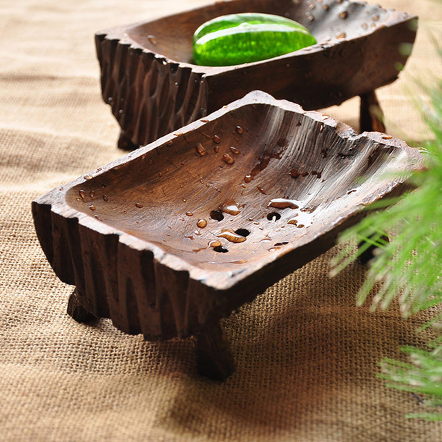 Creative Handmade Natural Wooden Soap Dish Tray Holder Storage Rack ...