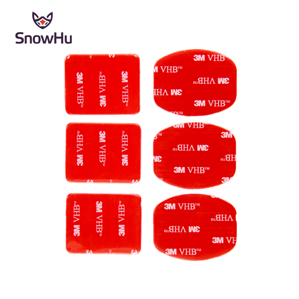 SnowHu For Gopro Accessories 3pcs Flat Curved Mounts +3pcs Arc Curved Mounts 3M Sticker Set For Go Pro Hero 8 7 6 5 4for Yi GP14