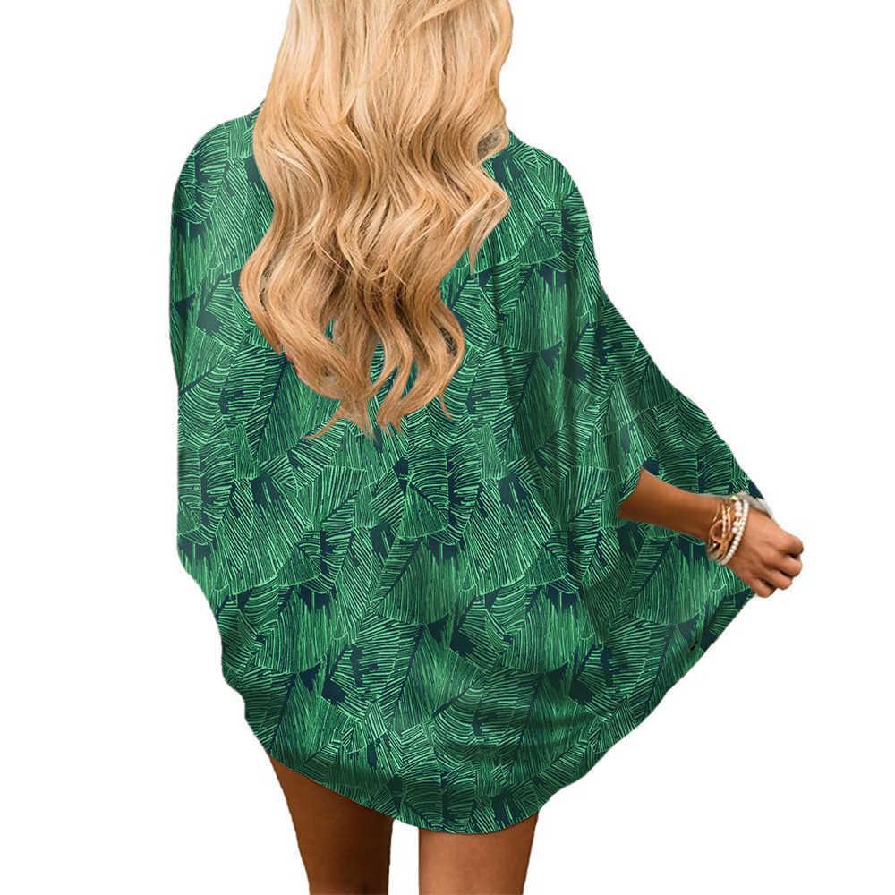 Asual 夏 blusas マンガ comprida feminina 2019 プラスサイズ着物カーディガン女性の着物とブランドの印刷グリーンブラウス