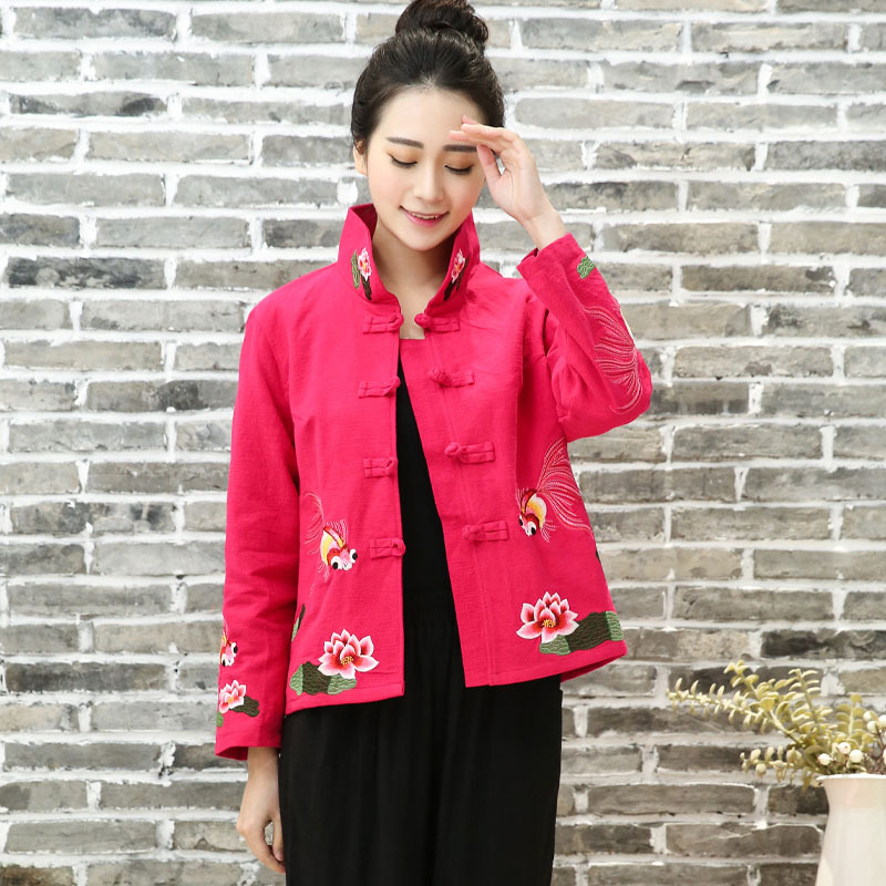 Autumn Winter Coat Loose Chinese Plate Buttons Embroidered Cotton Linen Casual National Wind Mother Jacket Female