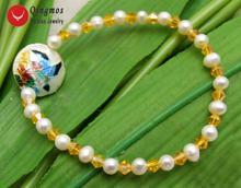 Qingmos трендовые 5 6 мм белые браслеты из натурального жемчуга