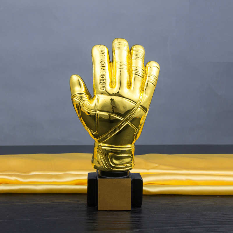 Лучшие футбольные события Золотая перчатка футбольный трофей индивидуальные гальванические вратарь медаль 26 см Смола Золотая перчатка трофеи и награды
