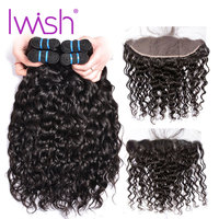 Water Wave Bundles With Closure Frontal With 3 Bundles Preplucked Iwish Brazilian Hair Weave Lace Closure Human Hair Non Remy