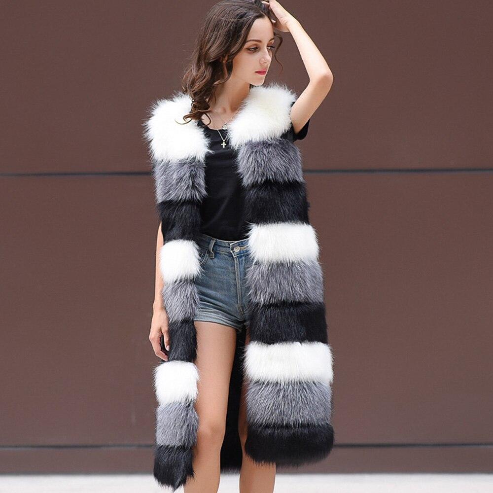 Keanancy élégant fausse fourrure pardessus femmes hiver chaud fausse fourrure manteau col en v sans manches femme veste Long Style femmes fourrure gilet
