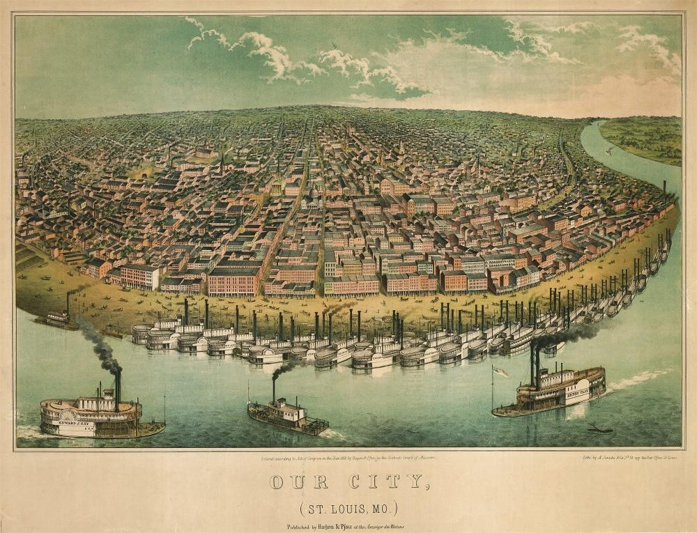 our city stlouis mo harbor map classic vintage retro kraft decorative poster maps home