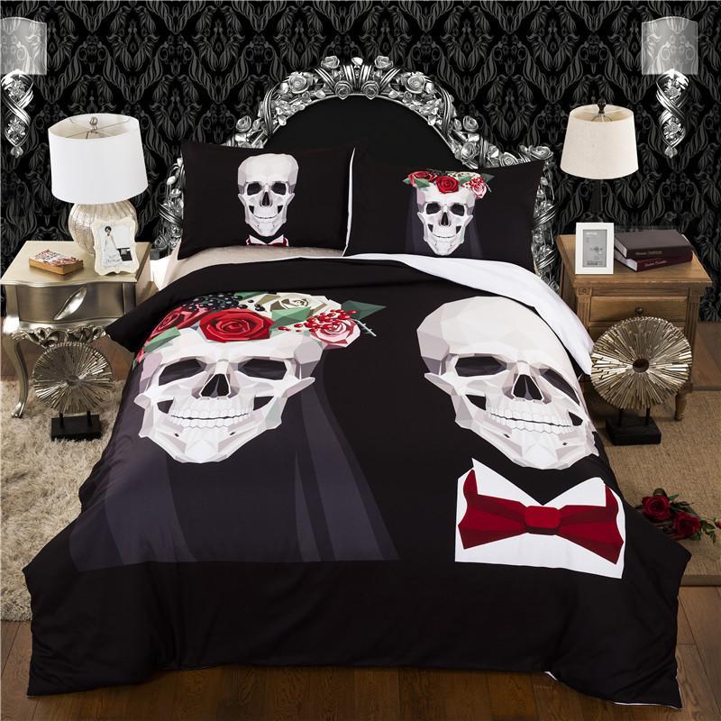 Crâne Housse de couette Avec Taies lits reine roi couvre-lit Linge de Lit ensemble de literie housse de couette ensemble