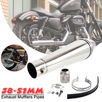 38 51mm Universal Motorcycle Stainless Steel Muffler Exhaust Pipe Silencer New Exhaust tip Muffler