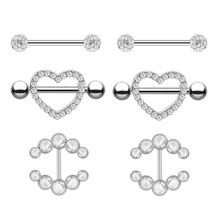 2PCS New Fashion Style Nipple Rings Piercing Stainless Steel Gold Silver Heart Women Nipple Rings Body Piercing Jewelry
