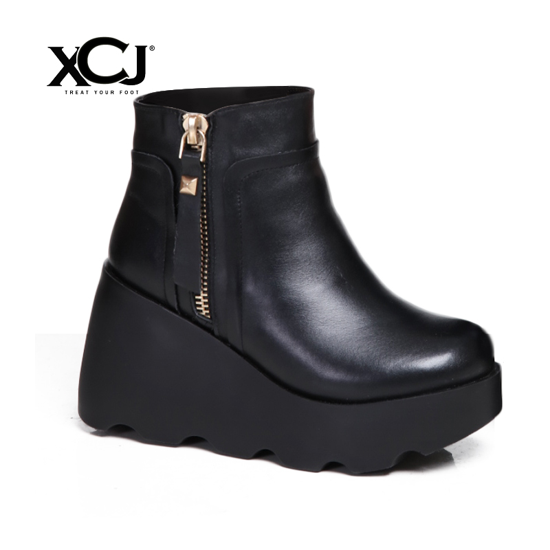 купить Women Winter Shoes Genuine Leather Natural Wool Boots Brand Women Shoes High Quality Ankle Boots With Platform High Heel XCJ по цене 4351.84 рублей