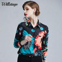 Willstage Women Shirts Floral Printed Pattern Blouse Long Sleeve Office ladies Work Wear Elegant female clothes 2019 Autumn Tops