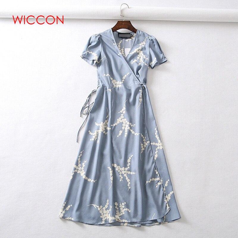 c1f0b678274c2 Beach Knee Length Female Wrap Dress Summer Print Cherry Dress Women ...