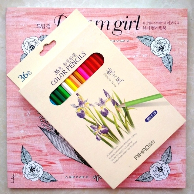 Korea Dream Girl 36 Pencil Coloring Books For Adults Kids Graffiti Painting Drawing Colouring Book