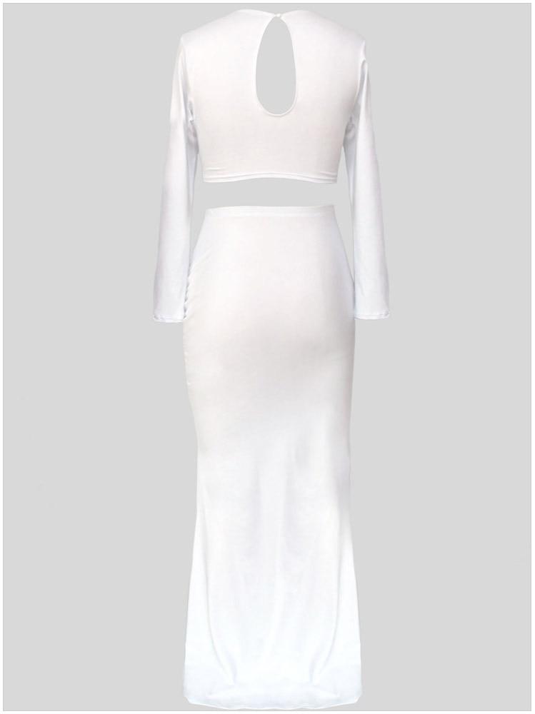 Spring Summer Autumn Women Sexy Two Piece Bodycon Dress Elegant Evening Party Floor Length Maxi Dress Long Black White Celebrity