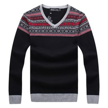 RICHARDROGER  2017 Autumn And Winter New Men's Long-sleeved Sweater Slim V-neck 053