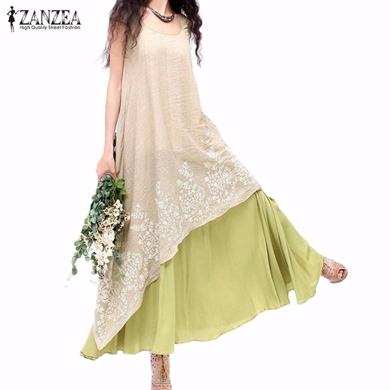 Vestidos 2018 Nyár ZANZEA Női Vintage alkalmi laza ruha O nyak rövid ujjú virágos hímzés Két réteg ruha túlméretezett