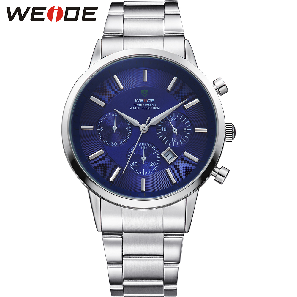 WEIDE Popular Brand Blue Watch Men Japan Quartz Movement Full Stainless Steel Complete Calendar 30M Water Resistant Wristwatches wireless service call bell system popular in restaurant ce passed 433 92mhz full equipment watch pager 1 watch 7 call button