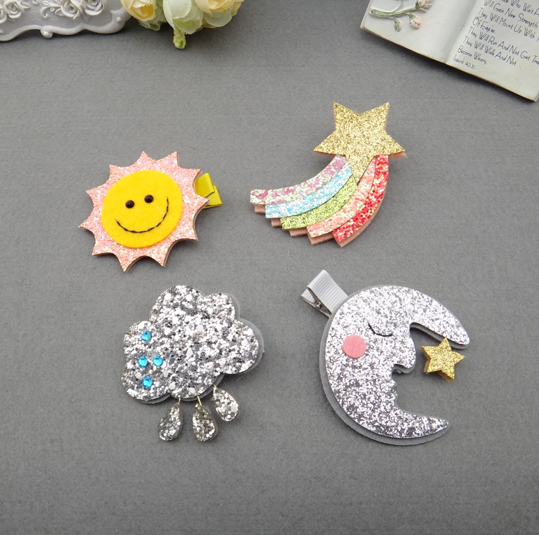1 PCS 2017 New Fashion Sun And Moon Rainbow Clouds Hairpins Girls Hair Accessories Children Headwear Baby Hair Clips Headdress 1 pcs fashion cute dimensional flowers baby hairpins girls hair accessories children headwear princess barrette kids hair clips