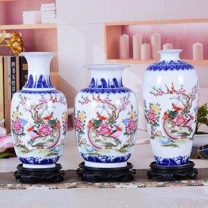 Image 2 - Сине белая керамическая ваза, фазан, фарфоровый цветок, старинная китайская фигурка, ваза с узором истории, ручная работа, цзиндэчжэнь, цветочные вазы