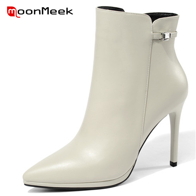 MoonMeek 2018 NEW fashion pointed toe autumn winter ladies boots high quality ankle boots elegant women genuine leather boots цена 2017