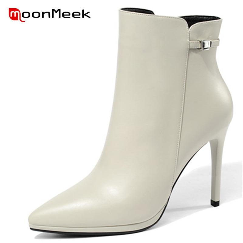 купить MoonMeek 2018 NEW fashion pointed toe autumn winter ladies boots high quality ankle boots elegant women genuine leather boots по цене 4964.5 рублей