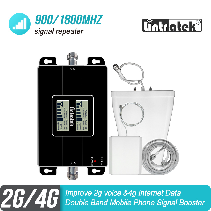 Lintratek Free Shipping 2G 4G 900 1800 MHz Double Band Mobile Signal Repeater GSM 900 DCS 1800 Booster Amplifier 4G Kit S6-1