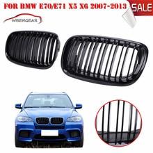 M Style Brillant Noir À Double Lames Avant Calandre Pour BMW E70 E71 Modèle X5 X6 SUV 2007 2008 2009 2010 2011 2012 2013 C/5