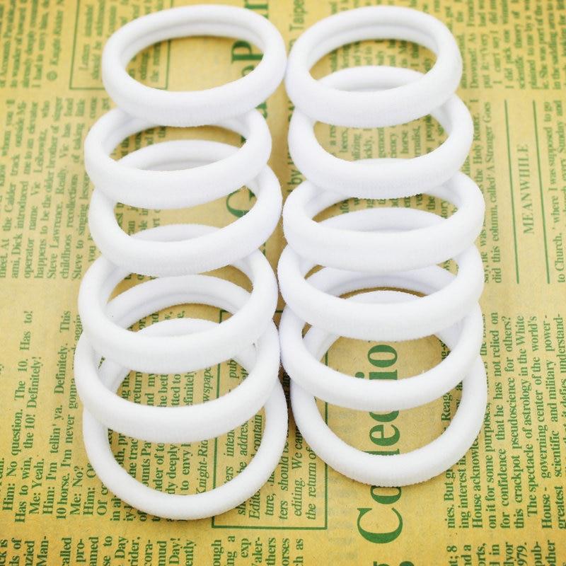 2015 Novo 50 pçs/saco 40mm Cabelo Branco Puro Titulares Elásticos Elásticos Menina Mulheres Tie Gum Moda Frete Grátis